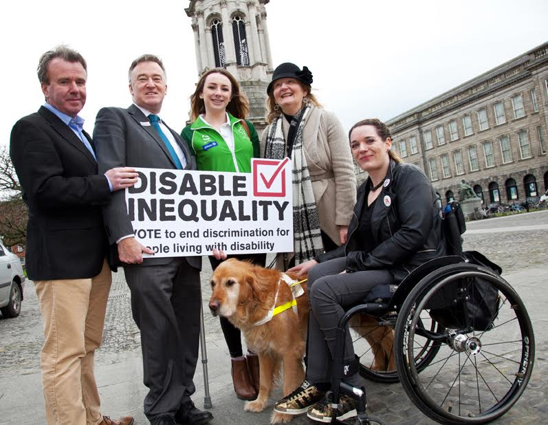Free repro – please credit Paul Sherwood.Disability Federation of Ireland Campaign Aims to 'Disable Inequality' in Election 2016 Disable Inequality, a major Election campaign launched today (Wednesday 13th January), is calling on the next Government to establish a Cabinet Minister for Disability Inclusion. It is also calling for an end to the anomaly that means that people with disabilities cannot access many Government job activation schemes and the reinstatement of the €150m which has been taken out of disability health services since 2008. This is a grassroots movement election campaign that will engage the public and candidates across all 43 constituencies.There are 600,000 people living with a disability in Ireland –that's 13% of the population – a number that is growing as Ireland's population ages.  Two in three people know or care for an immediate family member, a friend or a neighbour living with a disability.